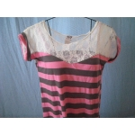 Pink n Gray Striped Blouse