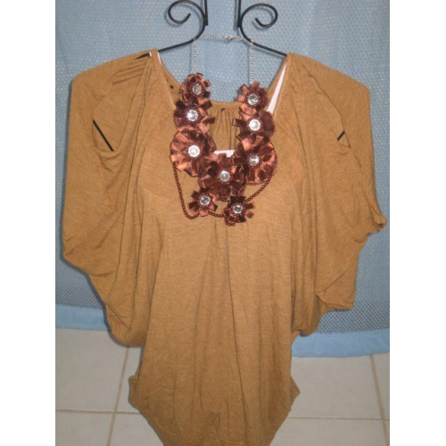 Brown Blouse w/ Necklace